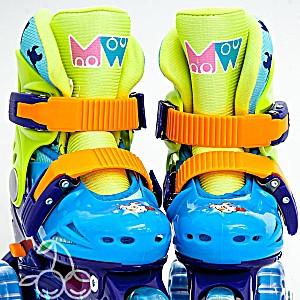 Роликовые коньки детские 26 размер, для обучения (трехколесные, раздвижной ботинок) MagicWheels зеленые